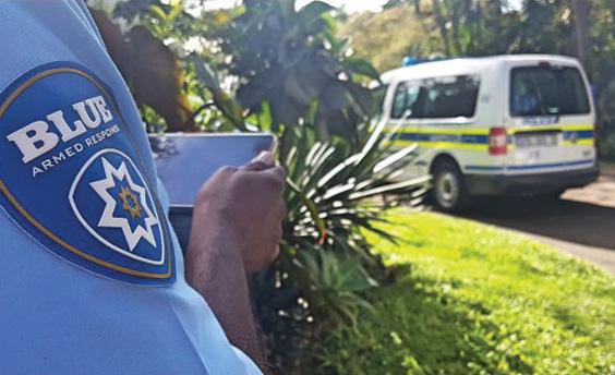Blue Security reaction officer at crime scene